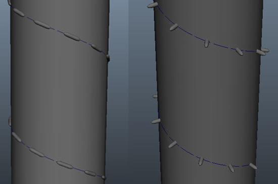 超便利!CVカーブにオブジェクトを吸着させて糸を簡単に作れるMAYAの無料スクリプト「Duplicate Along Path 」