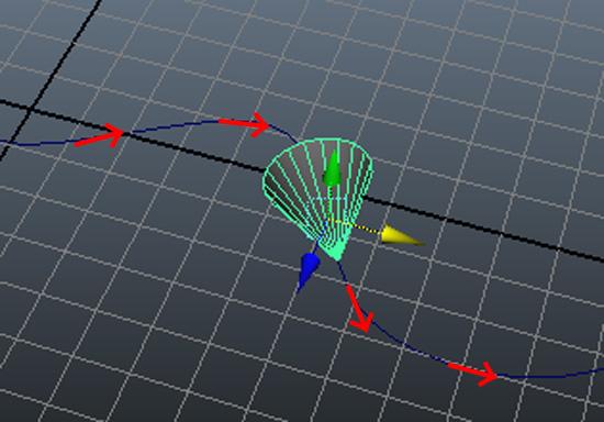 MAYAでCVカーブに沿ってオブジェクトを移動させる接線コンストレインの使い方。