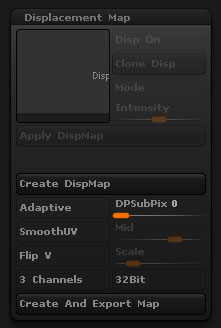 zbrushでディスプレイスメントマップ書き出してMAYAに適用するネタ集め