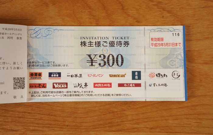 GMOクリック証券で吉野家の株を買って半年!優待券が届きました!