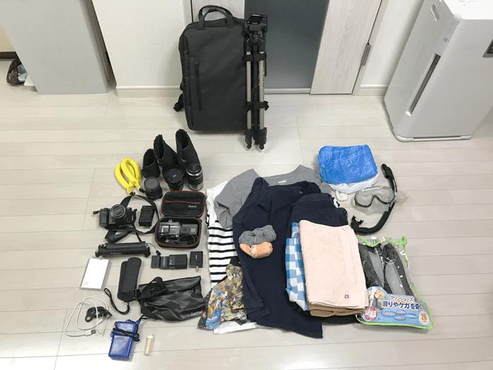 僕が2泊3日の沖縄 石垣島に持っていく物。