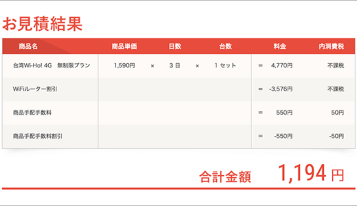 お得!台湾旅でWIFI使うなら3日間で1194円と激安なのはWi-Ho!です。